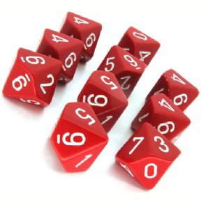 Red & White Opaque D10 Ten Sided Dice Set